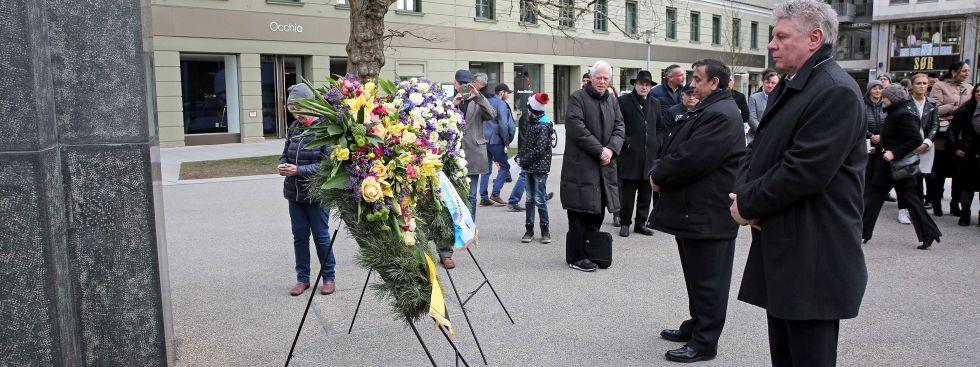 Oberbürgermeister Dieter Reiter und Erich Schneeberger, bayerischer Vorsitzender der deutschen Sinti und Roma, Foto: Michael Nagy/Presseamt München