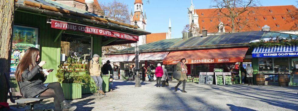 Der Viktualienmarkt in der Wintersonne, Foto: muenchen.de / Leonie Liebich