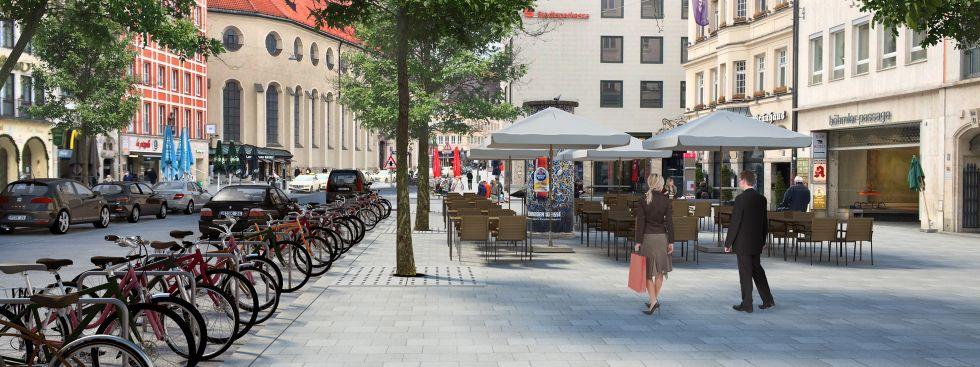Entwurf: So könnte es im Tal zukünftig aussehen, Foto: Landeshauptstadt München Baureferat