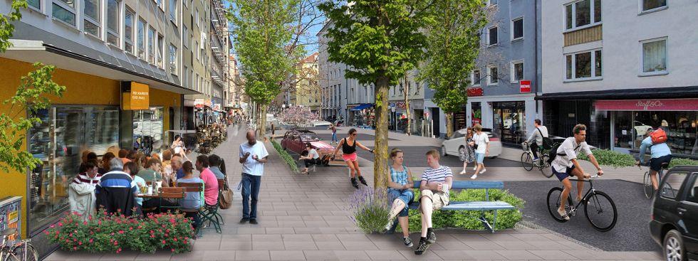 Soll soll die Augustenstraße bald aussehen., Foto: Die Grünen – Rosa Liste, Visualisierung H.v. Heydenaber