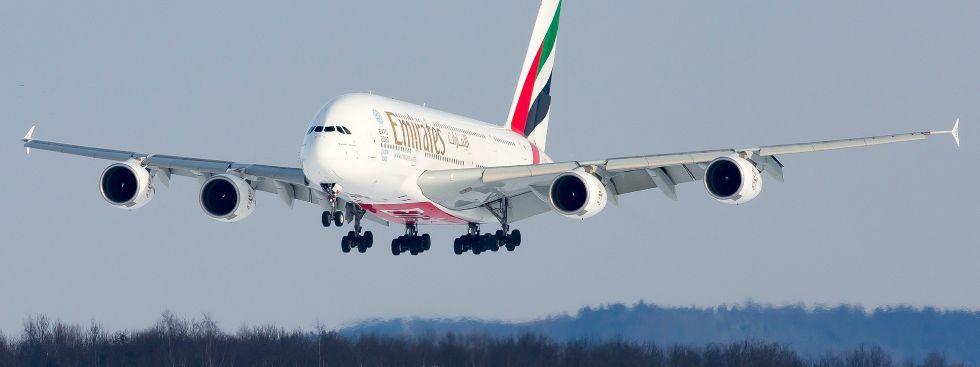 Ein A380 der Fluglinie Emirates im Landeanflug, Foto: Flughafen München