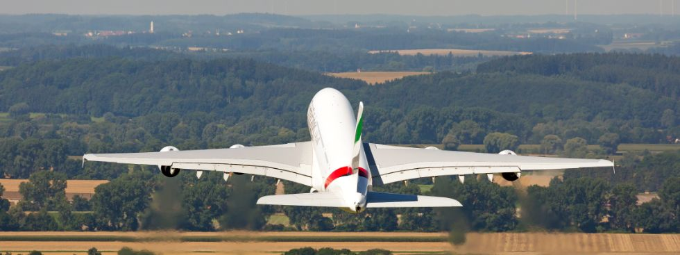 Startendes Flugzeug, Foto: Flughafen München