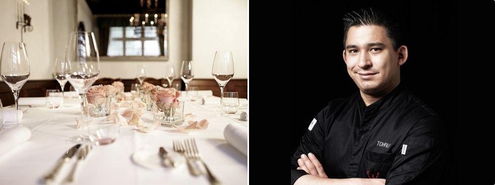 Festlich gedeckter Tisch im Gastraum von Geisels Werneckhof und Küchenchef Tohru Nakamura, Foto: Andreas Nestl