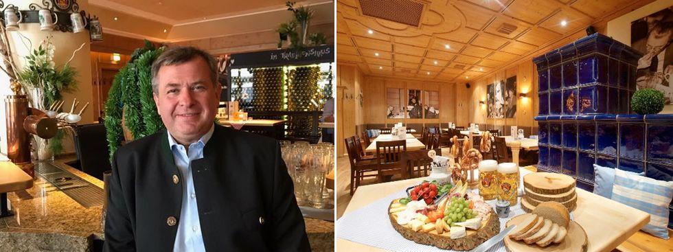 Lorenz Stiftl und das Restaurant Zum Spöckmeier von innen, Foto: Spöckmeier