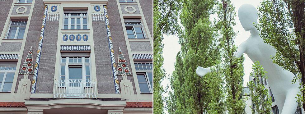 Bäume der Leopoldstrasse mit walking man, Haus von Martin Dülfer, Foto: Anette Göttlicher