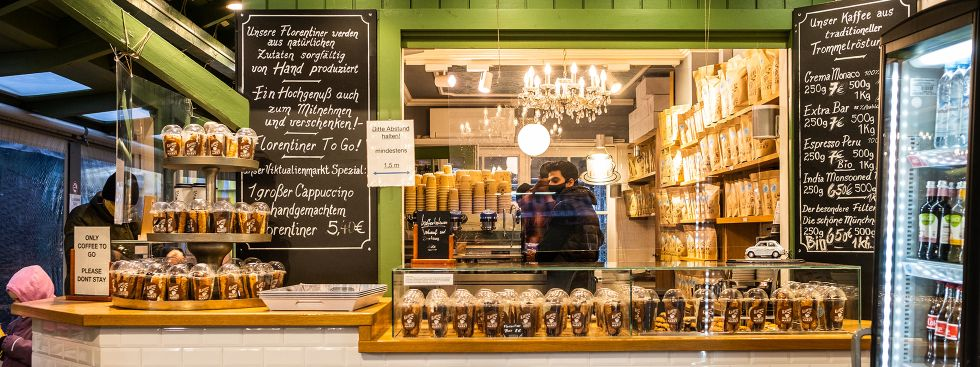 Die Kaffeerösterei Viktualienmarkt: Kaffee und Florentiner, Foto: Anette Göttlicher