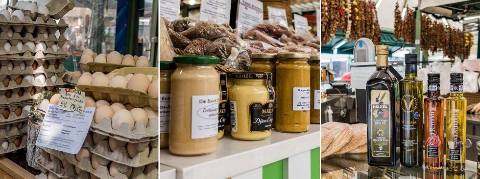 Eier, Senf und Olivenöl vom Viktualienmarkt, Foto: Anette Göttlicher