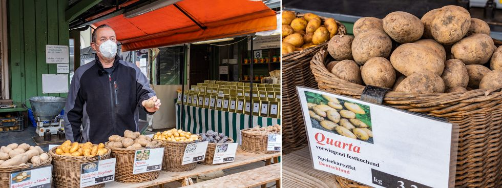 Kartoffelstand auf dem Viktualienmarkt, Foto: Anette Göttlicher