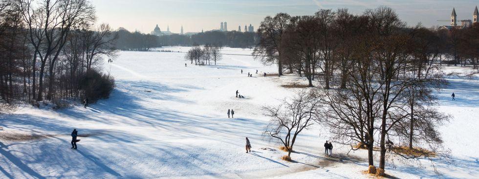 Aussicht vom Monopteros über den Englischen Garten im Winter
