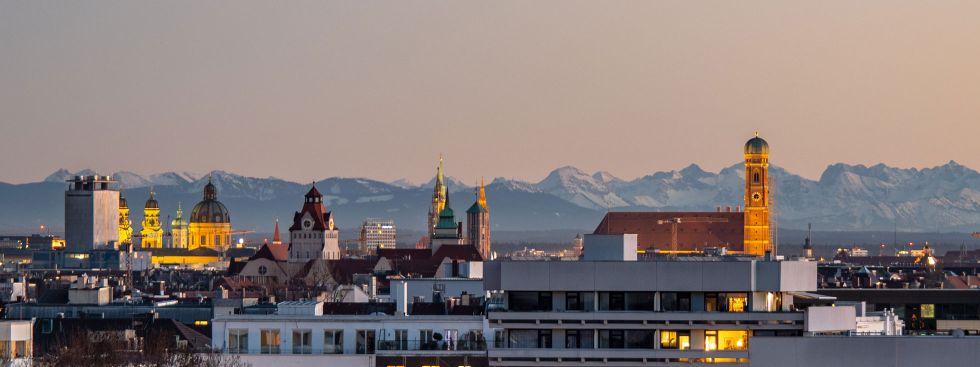 Aussicht vom Luitpoldhügel auf München, Foto: muenchen.de/Michael Hofmann