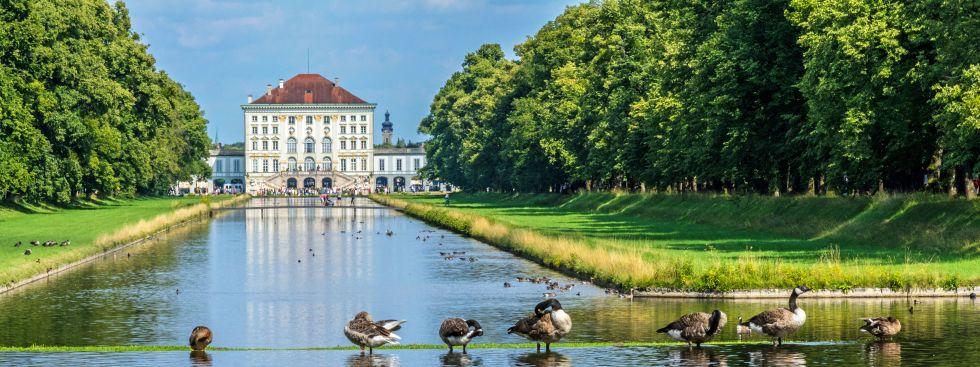 Enten am Kanal vorm Nymphenburger Schloss, Foto: muenchen.de/ Michael Hofmann