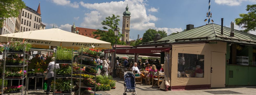 Der Viktualienmarkt im Sommer, Foto: muenchen.de/Lukas Fleischmann