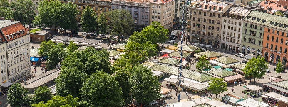 Der Viktualienmarkt aus der Vogelperspektive, Foto: muenchen.de/Lukas Fleischmann