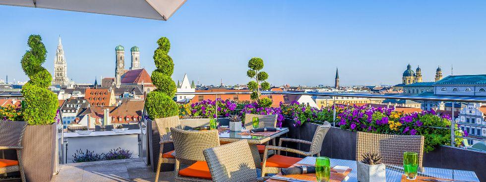 Aussicht von der China Moon Roof Terrace im Mandarin Oriental, Foto: Mandarin Oriental München