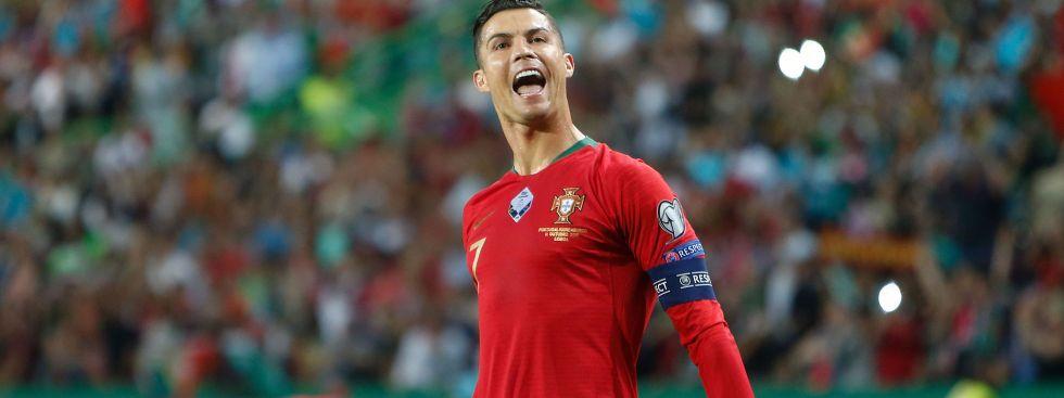 Portugals Cristiano Ronaldo beim Torjubel, Foto: imago images / HMB Media