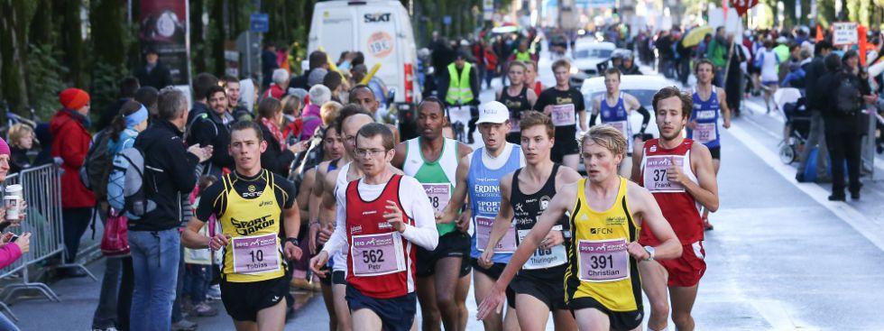 Marathonläufer auf der Leopoldstraße, Foto: Norbert Wilhelmi/München Marathon