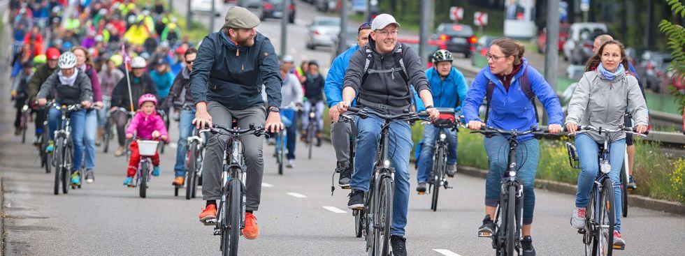 Radfahrer auf der Ringparade, Foto: Radlhauptstadt München / Simone Naumann