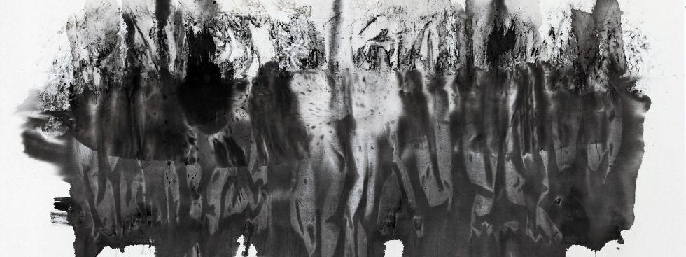 Daniela Baumann: Hidden Horizon, Tusche auf Baumwolle, Foto: Artmuc Kunstfestival