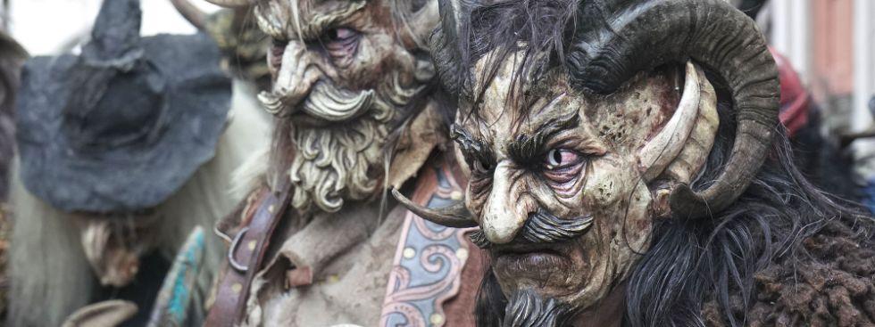 Schaurig schöne Masken waren beim Krampuslauf in München zu bewundern., Foto: Rico Güttich