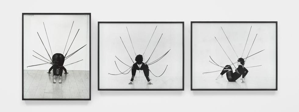 Senga Nengudi: Performance Piece, Foto-Triptychon im Lenbachhaus, Foto: Senga Nengudi 2019