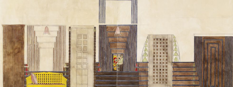 """Lucy McKenzie – Prime Suspect"" im Museum Brandhorst, Foto: Lucy McKenzie, Interior (Detail: C.R. Mackintosh - Design for the Dug-out, Willow tearooms, 1917), 2007"