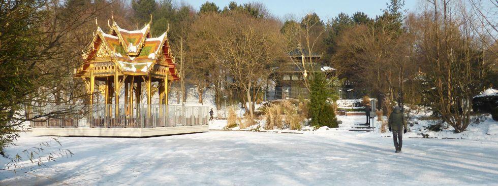 Die Pagode im Westpark im Winter, Foto: muenchen.de