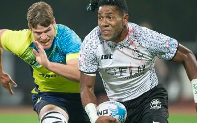 Rugbyspieler in Aktion