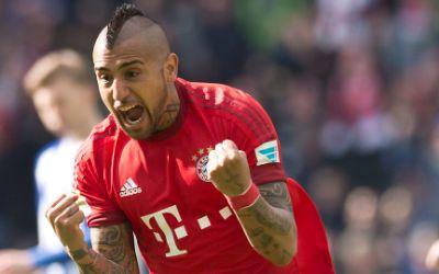 Bayerns Vidal jubelt nach seinem Treffer.