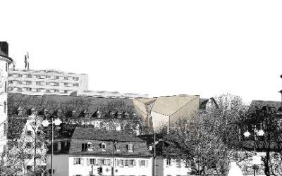 Visualisierung des Sudetendeutschen Museums von der Isarbrücke aus gesehen