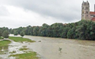 Isar-Hochwasser an der Reichenbachbrücke am 14.7.2016