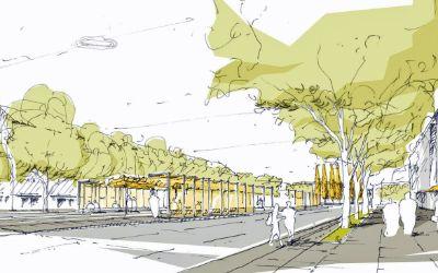 Umgestaltung Romanplatz Gestaltungswettbewerb 2016: Visualisierung Haltestellenbereich