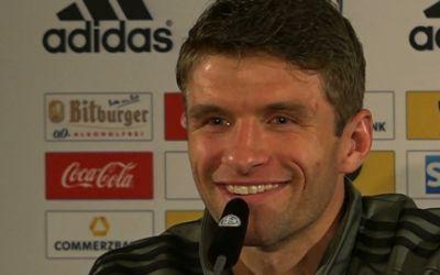 Thomas Müller bei der DFB-Pressekonferenz.