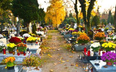 Friedhof mit Blumenschmuck