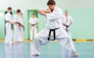 Taekwondo Meister zeigt Übung