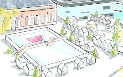 Visualisierung des Weihnachtsmarkts La Ville Blanche.