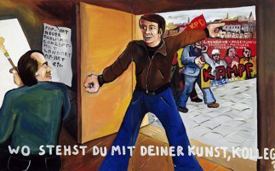 """Jörg Immendorff """"Wo stehst du mit deiner Kunst, Kollege?"""", 1973"""