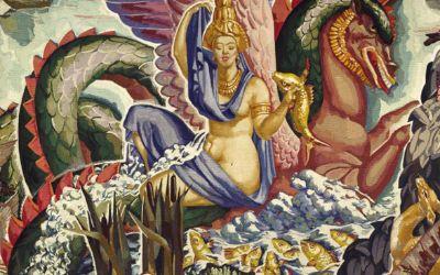 Pierre-Henri Ducos de la Haille (1889–1972) Der Mekong, 1935-1937 Manufacture des Gobelins 288 × 342 cm, Wolle, Seide Sammlung Mobilier national