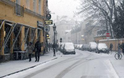 Schneetreiben in der Feilitzschstraße in Schwabing am 17.1.2016