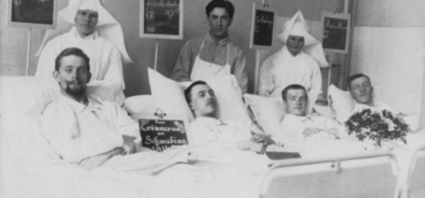 Verwundete im Schwabinger Krankenhaus