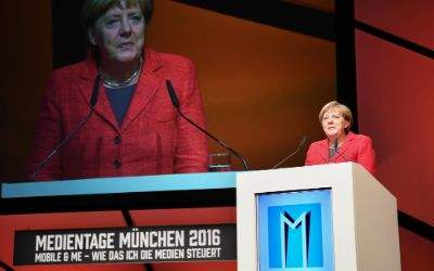 Bundeskanzlerin Angela Merkel bei der Eröffnung der Medientage München