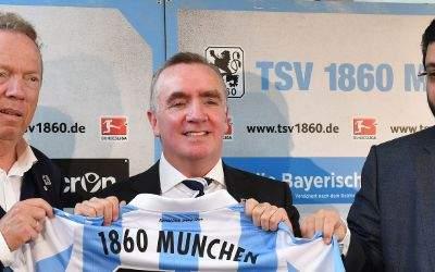 Bei der Vorstellung des neuen Löwen-Geschäftsführers (von links):  Peter Cassalette (Präsident 1860 München) Ian Ayre (Geschäftsführer 1860) und Hasan Ismaik (Investor)