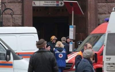 Eingang der U-Bahnstation in St. Petersburg, in der sich die Explosion ereignet hat.