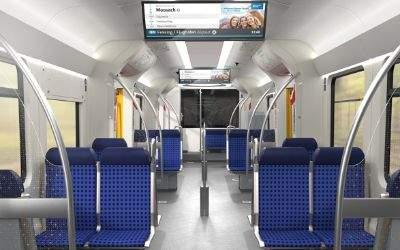 In der modernisierten S-Bahn weitet sich der Durchgang zum Sitzbereich deutlich.