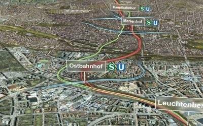Verlauf der zweiten S-Bahn-Stammstrecke durch München