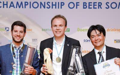 Die besten drei Biersommeliers der Welt: 1. Platz Stephan Hilbrandt (mitte), 2. Platz Felix Schiffner (links), 3. Platz Rodrigo Sawamura (rechts)