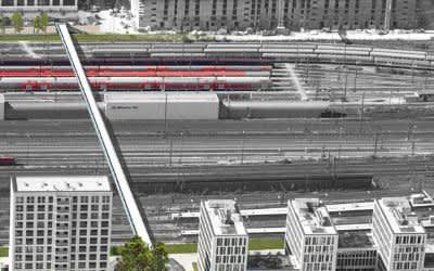 Visualisierung der Fuß- und Radwegbrücke über die Bahngleise am Arnulfpark
