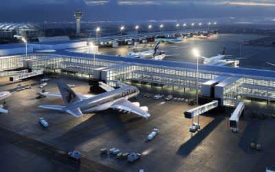 Visualisierung des geplanten neuen Flugsteigs am Terminal 1 des Flughafens