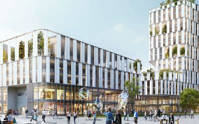 Visualisierung des geplanten Geschäfts- und Bürohauses im Werksviertel