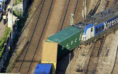 Entgleiser Güterzug bei München-Riem am 28.4.2018