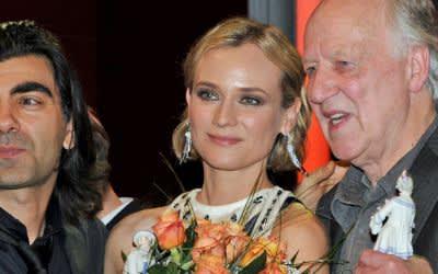 Von links: Regisseur Fatih Akin, Schauspielerin Diane Kruger und Regisseur Werner Herzog am 19.01.2018 nach der Verleihung des Bayerischen Filmpreises im Prinzregententheater